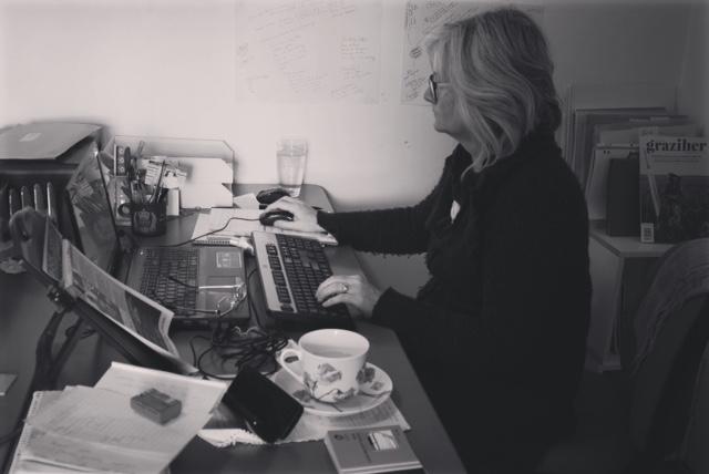 Fiona Stocker at her writing desk