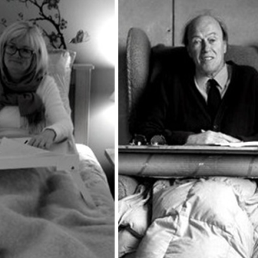 Roald Dahl in his shed and Fiona Stocker in her bed