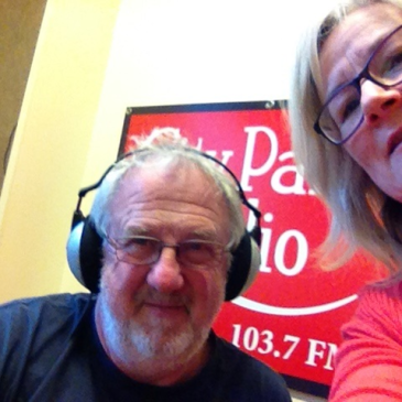 Fiona Stocker at City Park Radio Launceston with Chris Sayer