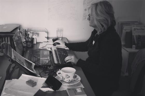 Fiona Stocker Writer at desk