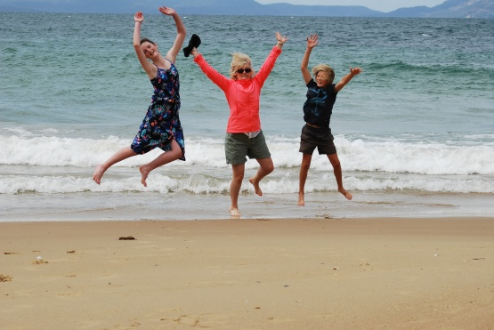 Author Fiona Stocker on holiday with her children in Tasmania