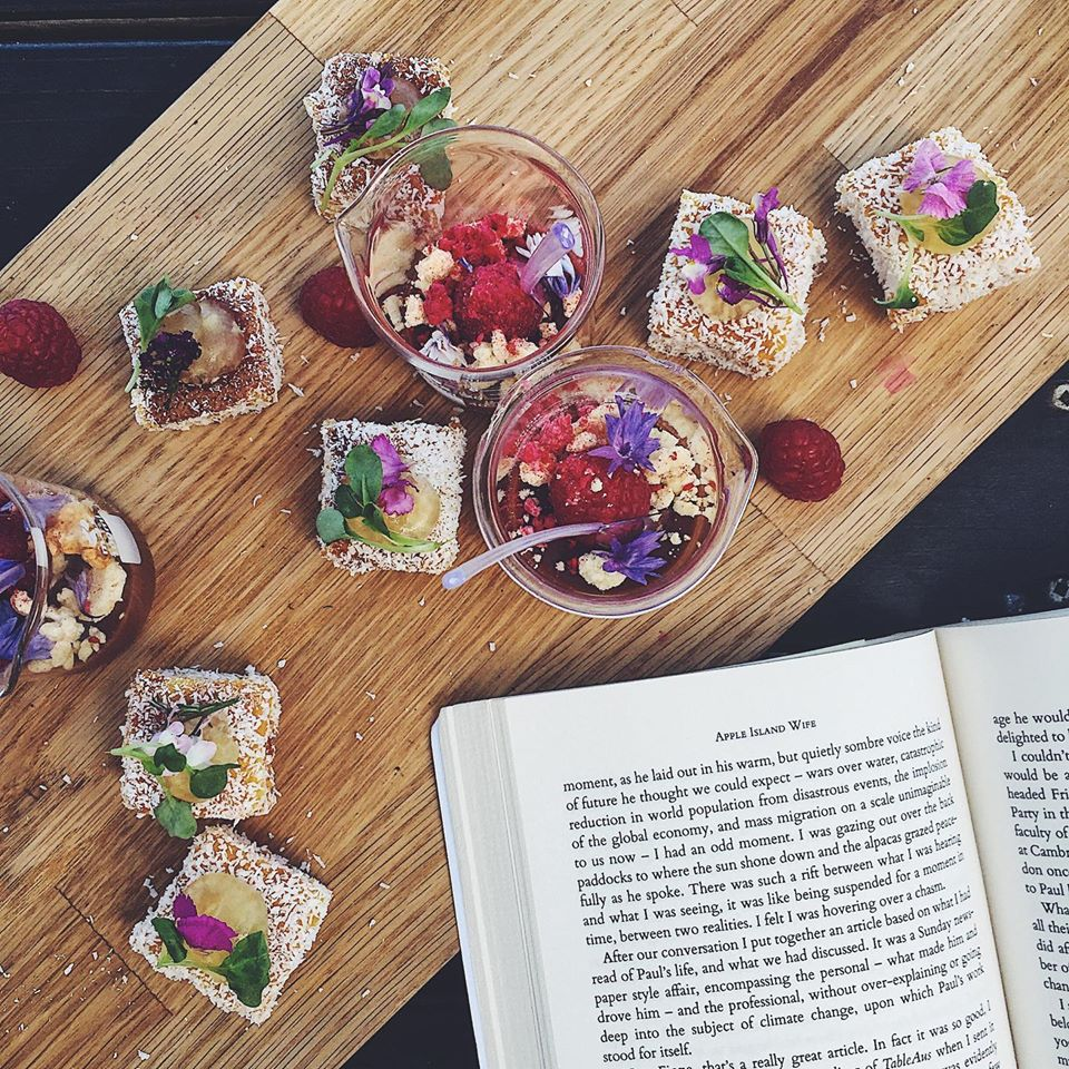 lamingtons and a book by Fiona Stocker