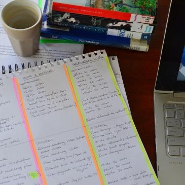 A quarterly plan for a writer lies on a desk next to a laptop computer