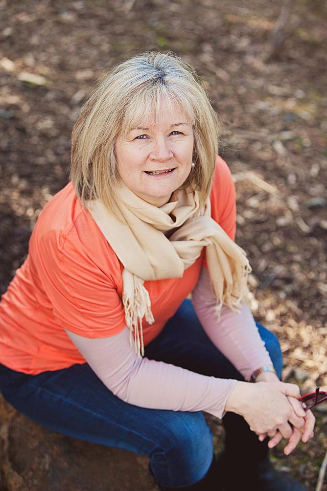 Fiona Stocker sits in the Australian bush